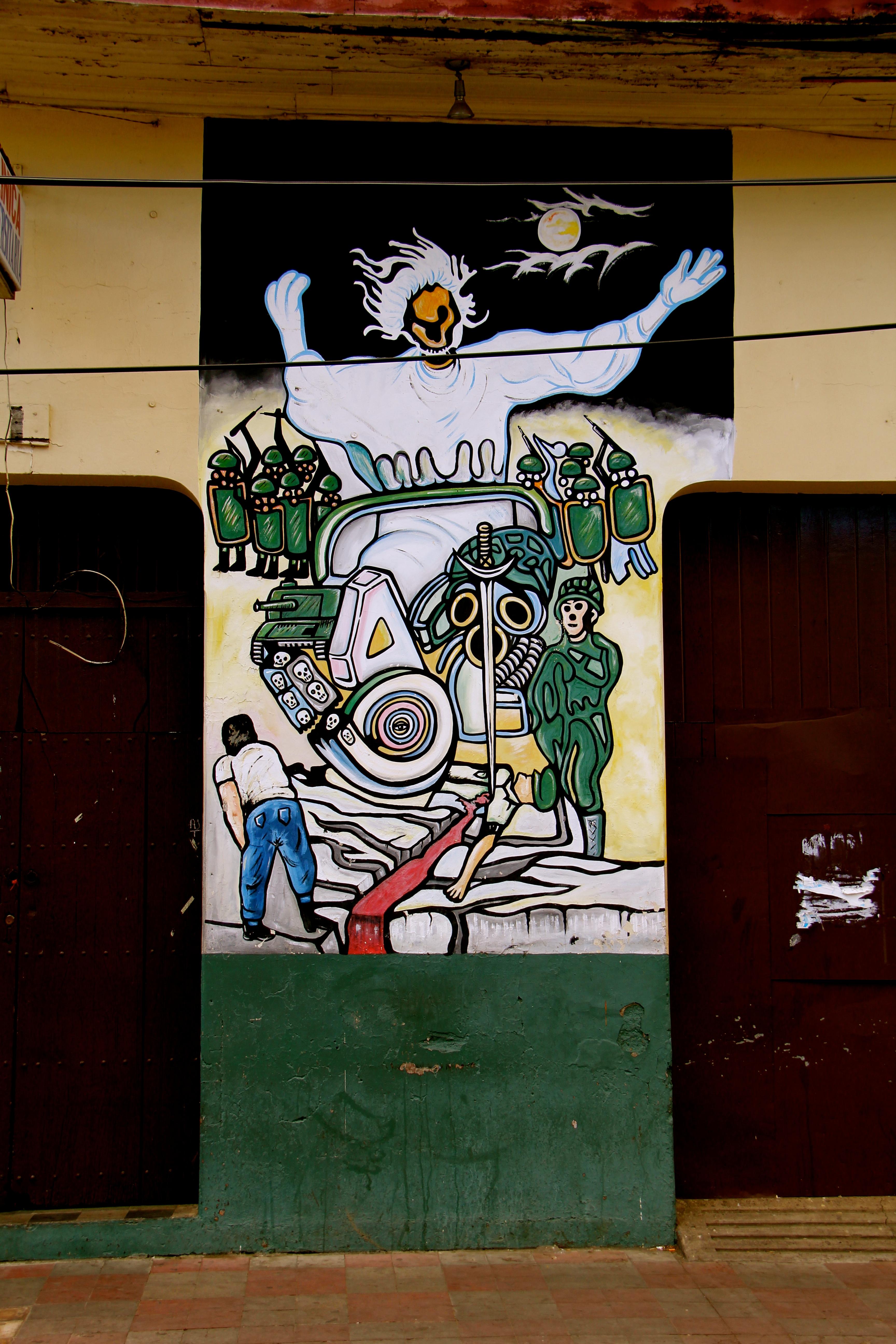 Wall murals and street art of le n nicaragua global for Mural nicaraguense